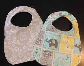 Set of 2 Minky and flannel bibs- Super soft and cute! Velcro closures