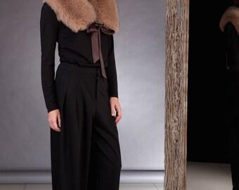 Handmade Light Brown Fox Fur Shoulder Wrap / Stole / Collar