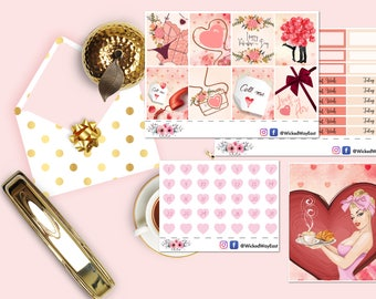 Valentine's Day Mini Kit Sticker, Valentine's Day Erin Condren Kit, Hearts Planner Kit, Love Planner Kit, Planner Stationary Accessories