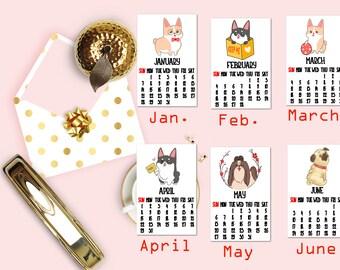 2018 Year of the Dog Calendar Planner Die Cuts, Year of the Dog Calendar Die Cuts, Planner Die Cuts, Scrapbook Die Cut, Planner Accessories