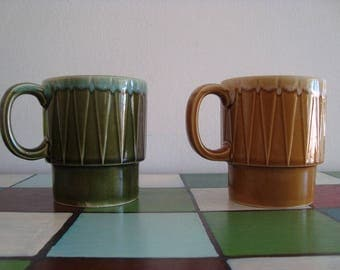 Vintage Stacking Coffee Mugs Tea Cups - Set of 2 - Made in Japan