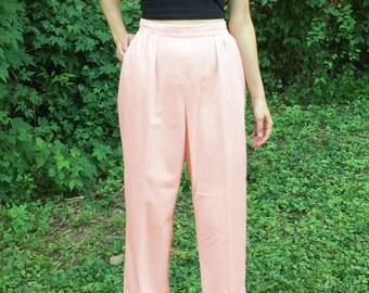 Vintage 90s Peach Pink Wide Leg Pleated Pants - by Impressions