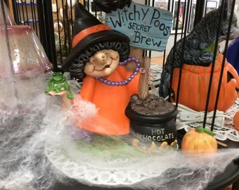 Witchy poo ceramic witch with lights