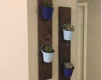 Handmade Vertical Hanging Indoor Garden, Wall Mounted Wooden Garden, Hanging Succulent Garden, Hanging Herb Garden, Indoor Garden Holder