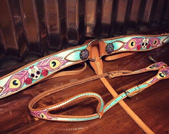 Made to order custom painted tack set with custom conchos