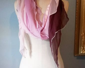 Pink ombre two fabric scarf