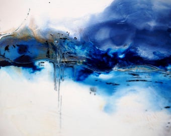Blue Landscape 2, original encaustic painting, wall art on cradled panel