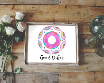 Positive Vibes wall art, good vibes tribal poster, tribal nursery decor, colorful wall decor, motivational printable art, home decor