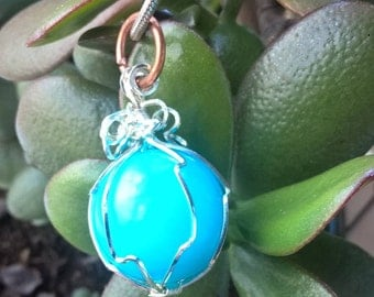 Solid Silver Wrapped Blue Orb Handcrafted Pendant