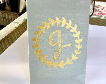 Canvas Board- Custom Letter/ canvas/ custom canvas/ gold/ hand painted/ custom/ last name sign