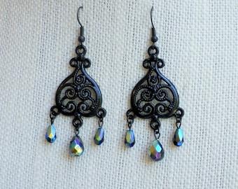 Midnight Scroll Black Chandelier Earrings