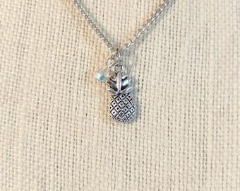 Silver Pineapple Charm & Crystal Necklace
