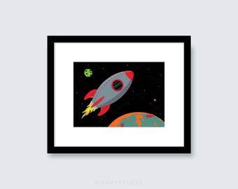 Cute Rocket Ship PRINTABLE Art - Digital File - Printable Art - Printable Nursery Art - Rocket Art Print - JPG File - Kids Room Art - JPEG