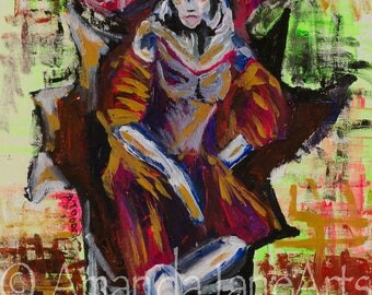 Lady with hat, picture, painting, art, acrylic, print, abstract, power, domination, gift
