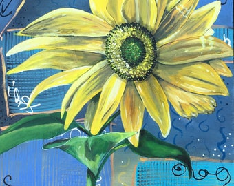 """Acrylic on stretched canvas-""""Sunny Flower"""""""