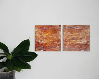 """LOT 2 abstract paintings - """"layering"""" n2 - acrylic painting - orange, Brown, yellow"""