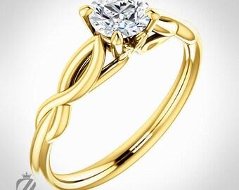18K Yellow Gold Solitaire Diamond Engagement Ring Wedding Ring Bridal Ring