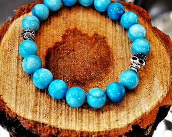 7 Deadly Sins Sterling Silver Skull Turquoise Bracelet
