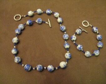 Ceramic Beaded necklace & bracelet Set