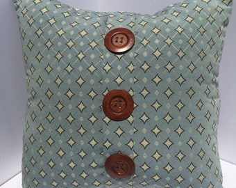 Light Blue- Green Geometric Print pillow cover with large brown wooden Buttons 18x18