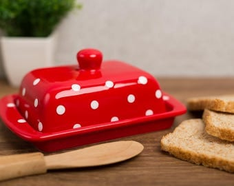 City to Cottage Red and White Polka Dot Handmade Hand Painted Ceramic Butter Dish With Lid