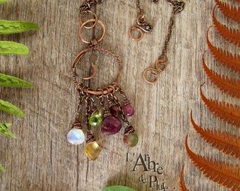 "Copper tourmaline peridot necklace Garnet citrine Moonstone-""circle of fairies""-"