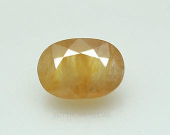 6.84 ct yellow sapphire oval cut 8.9 x 12.6 x 6.3 mm loose gemstone