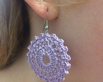 Earrings lilac knitted lace