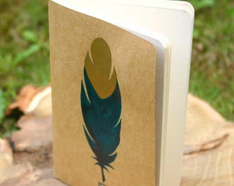 Golden feather - small notebook blank, hand painted 9 x 14 cm