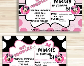 Instant Download Editable Pink and Black Printable Minnie Mouse Invitations