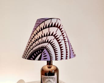 Handmade Recycled Monkey Gin Bottle Lamp // Textile Cable // In line Switch, And Plug // Handmade Lampshade