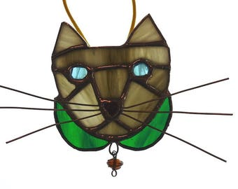 Gray & White Tabby Cat - Stained Glass