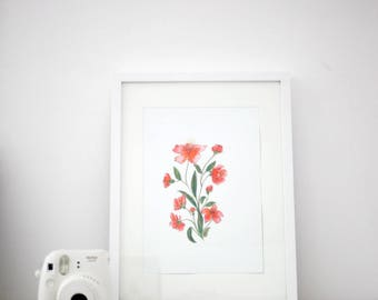 Floral illustration print • Botanical art print • Pink floral illustration • Watercolor floral art print