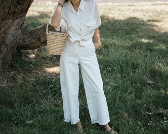 Gorgeous Summer White Linen Dolman Long Sleeve Collared Shirt S M L