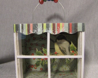 "Miniature Christmas Bird Shadow Box Diorama Ornament 2 3/8"" Handcrafted OOAK"