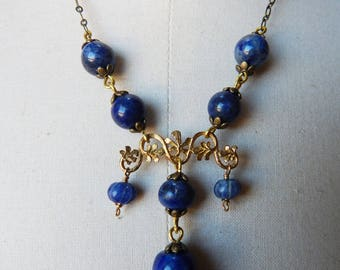 Lapis Lazuli and Blue Gemstone Edwardian Style Pendant Necklace