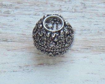 Bali Silver Ornate Round Bead, Sterling Silver Round Bead, Large Hole Sterling Silver Bead