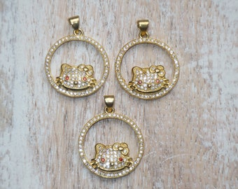 Pave Cz Gold Plated Hello Kitty Charm- Hello Kitty Charm
