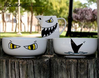Sharks Cereal Set/ 2 Bowls and Milk Jug