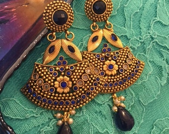 Navy Blue Stone Gold Plated Dangling Earrings for Party or Wedding