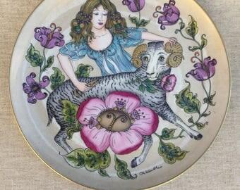 grand plat décoratif en porcelaine Allemande, Hutschenreuther / Ole Winther, signe du zodiac bélier German porcelain,sign of the zodiac ram