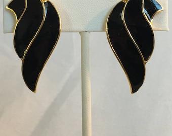 Black Enamel Wings On Gold Tone Vintage Clip Earrings