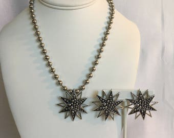 Park Lane Vintage Silver Tone Faux Marcasite Snowflake Clip Earrings and Beaded Necklace With Pendant