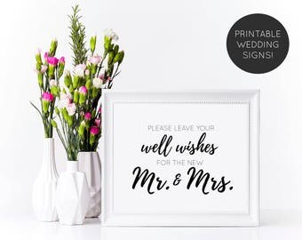 Well Wishes Wedding Sign, Printable Wedding Sign, Wedding Guestbook Sign, Wedding Signs, Wedding Printable, Wedding Reception Sign
