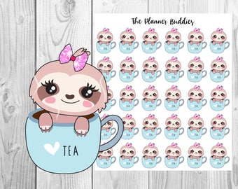 Lucy the Sloth, Planner Stickers, Sloth Planner Stickers, Tea, Coffee, Relax