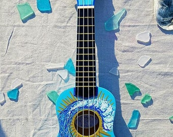 Hand Painted Ukulele. Wave