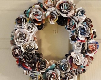 Rose Wreath, Paper Rose Wreath, Rose/flower Decor