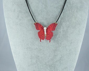 Red silk sequined Butterfly Necklace Pearl White, satin black 45 cm + 4 cm, collection Ylona cord, whimsical jewelry, made in France