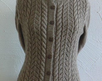 Fancy long sleeved jacket or vest wool Brown Taupe openwork stitches and cables size 38-40 hand knitted