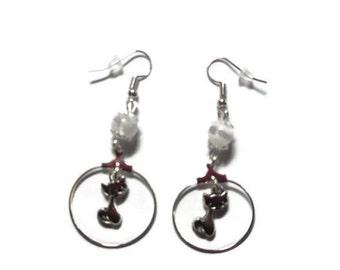 Earrings hoops pendants cats, gift idea-white glass beads